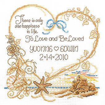 Seaside Wedding Wedding Record Counted Cross Stitch Kit-7.5