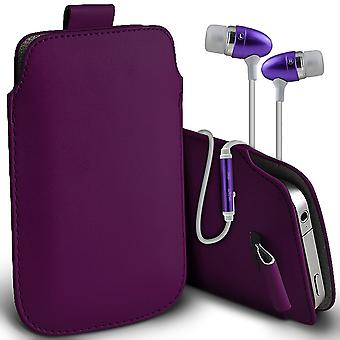 ( Dark Purple + Earphones) Pouch Case For Ulafone Future case Premium Stylish Faux Leather Pull Tab Pouch Skin Case Various Colours To Choose From With High Quality Fitted in Ear Buds Stereo Hands Headphones Headset with Built in Micro phone Mic and On-Off ButtonUlafone Future Cover By i-Tronixs