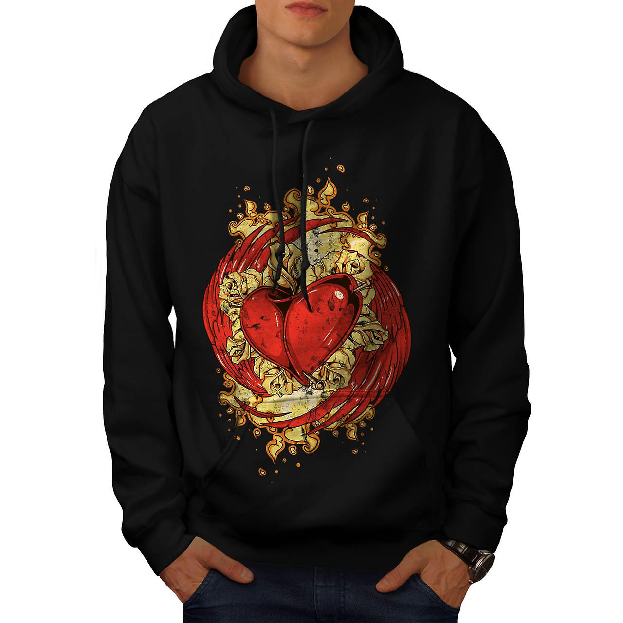 Love Heart Wing Lust Beat Organ Men Black Hoodie | Wellcoda