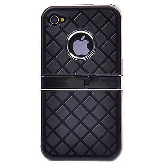 Harde kaft met chroom en ondersteuning (zwart)-iPhone 4/4S