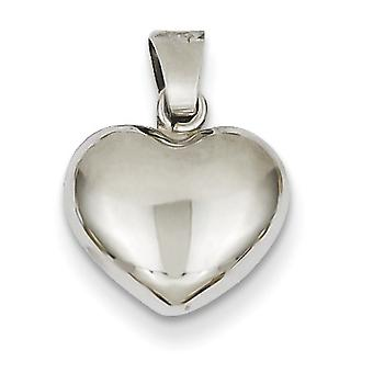 14k White Gold Hollow Polished Puffed Heart Pendant - .7 Grams - Measures 12.2x15.3mm