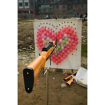 Air rifle and Valentines Day target in carnival Ciqikou Chongqing China Poster Print by Panoramic Images (24 x 36)