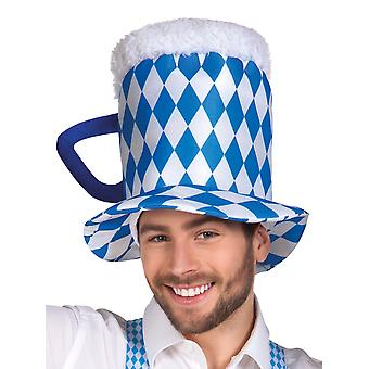 White & Blue Bavarian Oktoberfest Beer Hat Fancy Dress Accessory