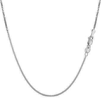 14k White Gold Gourmette Chain Necklace, 1.0mm