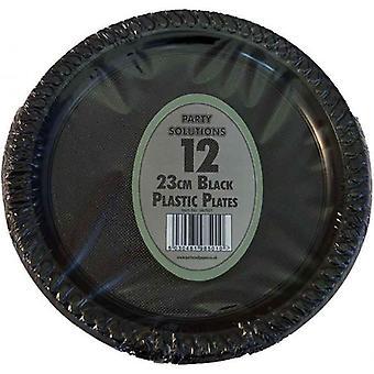 حزمة ألواح البلاستيك الأسود 23 سم من 12 المتاح لحفلة زفاف