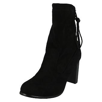 Ladies Spot On Chunky Block Heel High Ankle Boots F50579