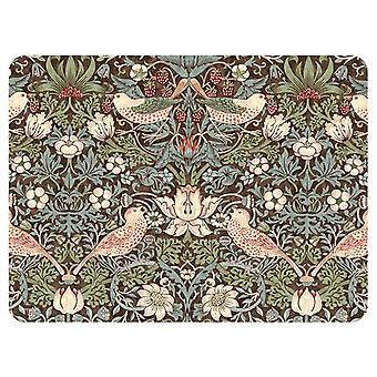 Pimpernel Morris & Co Strawberry Thief Placemats, Brown, Set of 6