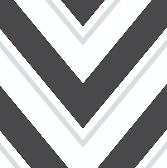 Geometric Wave Wallpaper Black White Silver Glitter Sparkle Vinyl Chevron Rasch