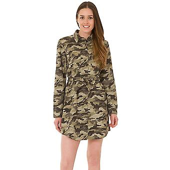 Camouflage Shirt Dress - Green