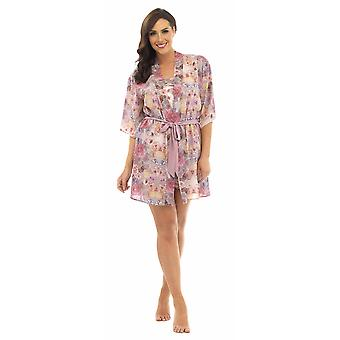 Ladies Wolf & Harte Floral Print Wrap Over Shortie Dressing Gown Kimono Wrap