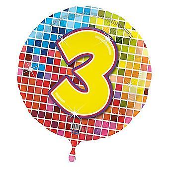 Foil balloon birthday number 3 disco helium balloon 43 cm balloon