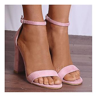Shoe Closet Pink Strappy Heels - Ladies Baby Pink DB57 Barely There Strappy Sandals Peep Toes High Heels