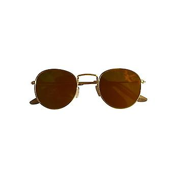 Cool urban sunglasses with yellow mirror glass gold