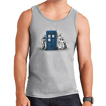 BankCy Doctor Who Tardis Cybermen Street Art Men's Vest