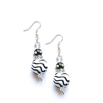 Zebra Animal Print Rhinestone Glass Beaded Kate and Macy Earrings