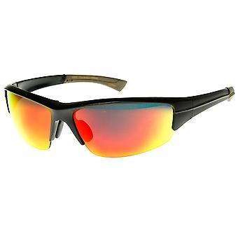 Premium Sports Semi-Rimless Color Mirror Lens Sport Wrap Sunglasses