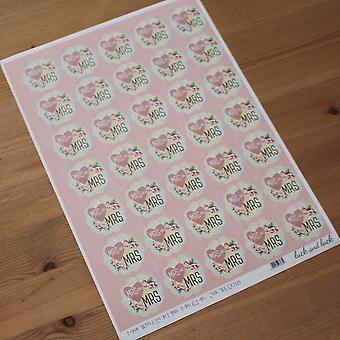 MRS and MRS Wedding Stickers Floral Square Stickers Sheet of 35 Stickers