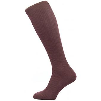 Pantherella Naish Rib Over the Calf Merino Wool Socks - Maroon