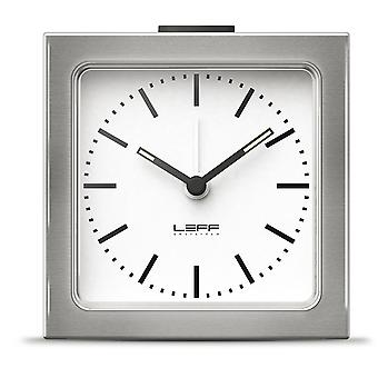 LEFF Amsterdam 8.5 x 8.5 x 6 cm Stainless Steel Block Alarm Clock Station, Silver
