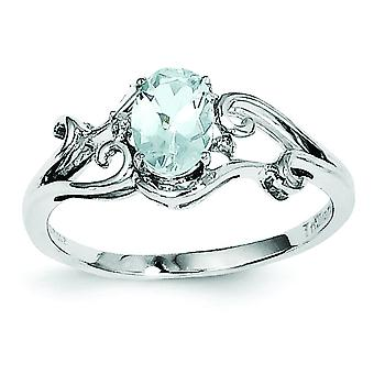 Sterling Silver Polished Open back Rhodium-plated Rhodium Plated Diamond and Aquamarine Oval Ring - Ring Size: 6 to 9