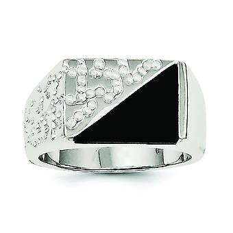 Sterling Silver Solid Polished Open back Mens Cubic Zirconia and Simulated Onyx Ring - Ring Size: 9 to 11