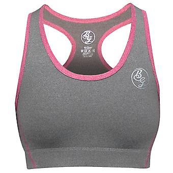 Bad Girl Racerback Sports Bra - Charcoal Marl/Pink Marl