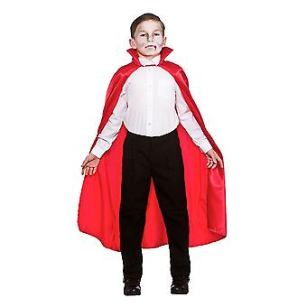 Kids Deluxe Red Satin Cape with Collar Halloween Fancy Dress Accessory 95cm