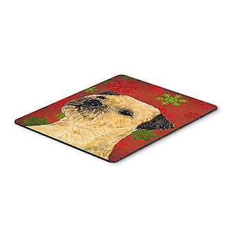Border Terrier Red and Green Snowflakes Christmas Mouse Pad, Hot Pad or Trivet