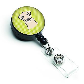Schachbrett Lime grün gelbe Labrador versenkbare Abzeichen Reel