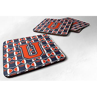 Set of 4 Letter U Football Orange, Blue and white Foam Coasters Set of 4