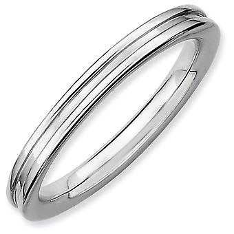 Sterling Silver Polished Patterned Rhodium-plated Stackable Expressions Rhodium Grooved Ring - Ring Size: 5 to 10