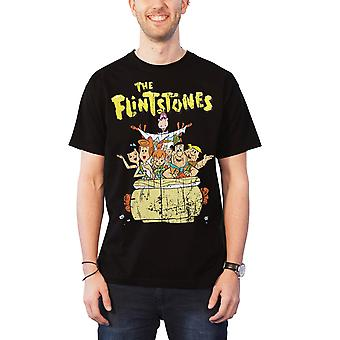 The Flintstones T Shirt Distressed Flintstone Family Official Mens New Black