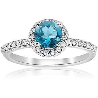 7/8ct Blue Topaz & Diamond Round Halo Engagement Ring 14K White Gold