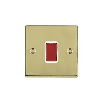 Hamilton Litestat Hartland Polished Brass 1g 45A Double Pole Red Rocker/WH