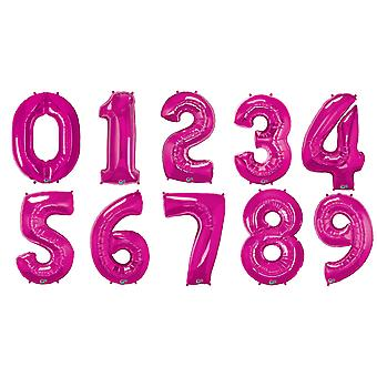 Qualatex 34 Inch Metallic Magenta Number Balloons (0-9)