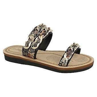 Ladies Womens New Slip On Comfort Two Strap Braided Flat Mule Sandals Shoe