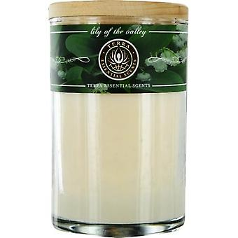 Lily Of The Valley By Terra Essential Scents Soy Candle 12 Oz Tumbler. A Peaceful & Welcoming Blend With Flourite Gemstone. Burns Approx. 30+ Hours