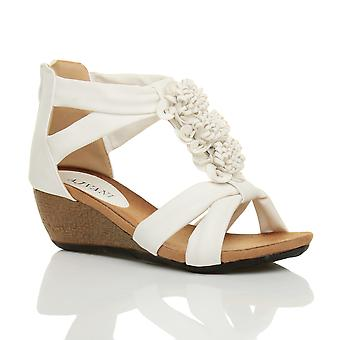 Ajvani womens low mid heel wedge zip t-bar summer flower strappy sandals shoe
