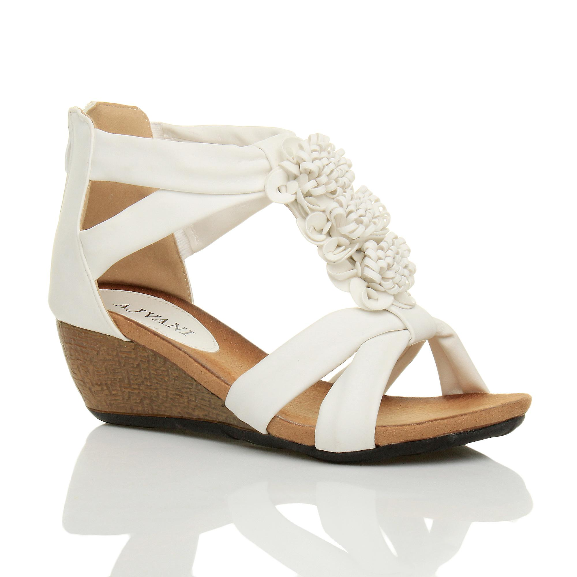 Ajvani womens low mid heel wedge zip t-bar summer flower strappy sandals shoe