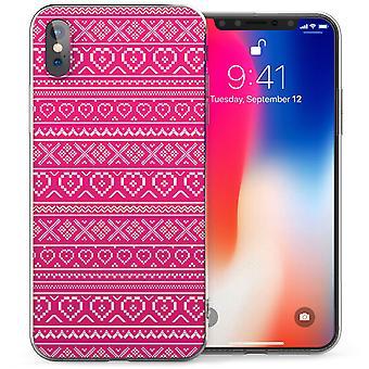 iPhone-X aztekischen Herzen Jumper TPU Gel Tasche - Pink / weiß
