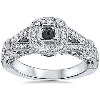 3/4ct Vintage Halo Princess Cut Diamond Engagement Ring Setting 14K White Gold