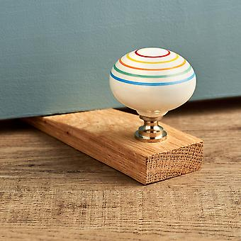Colourful Striped Oak Wedge Door Stop