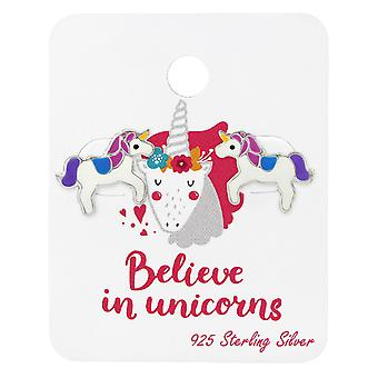 Unicorn Lover Ear Studs On Card - 925 Sterling Silver Sets