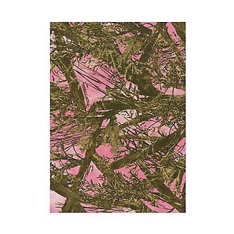 真木材ピンクとグリーン フォレスト カモフラージュ パターン区域敷物 61 X 82 インチ