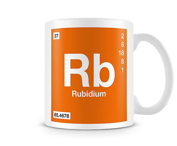 Element symbool 037 Rb - Rubidium afgedrukt mok