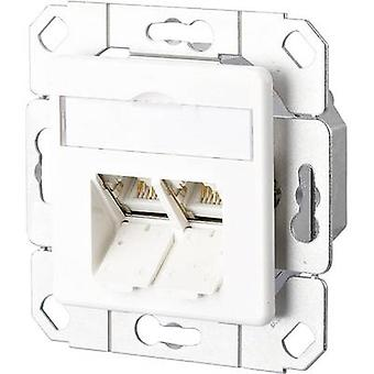 Network outlet Flush mount Insert with main panel CAT 6 2 ports Metz Connect Pure white