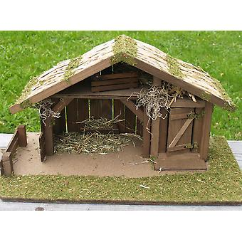 Crib Nativity scene wood Nativity stable REETHUS crafted for characters up to 12 cm