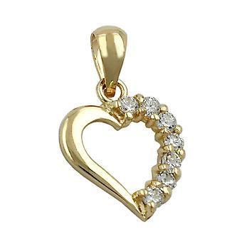 Oro oro 375 colgante del corazón, corazón con circones, oro de 9 KT