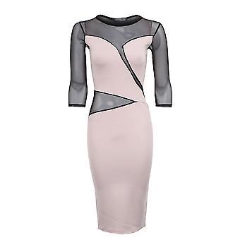 Nye damer 3/4 ermer Mesh sett inn slank effekt kvinners Bodycon kjole