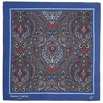 Simon Carter Framed Paisely Silk Pocket Square - Navy